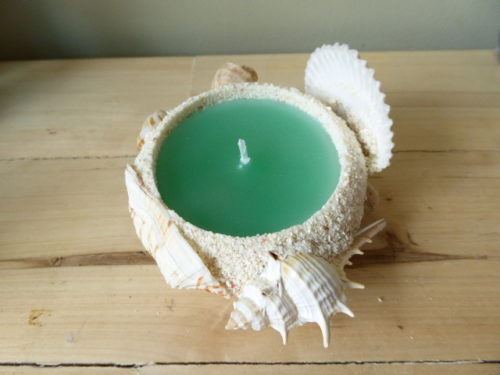 sea shell island breeze sand candle