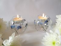 forget me not glass tea light holders