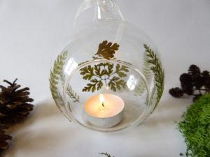 fern & geranium leaf hanging glass bauble