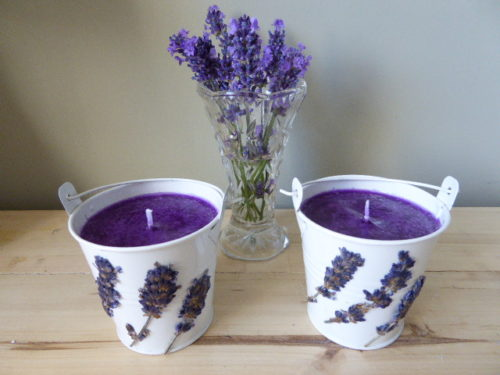 amber & lavender bucket candles