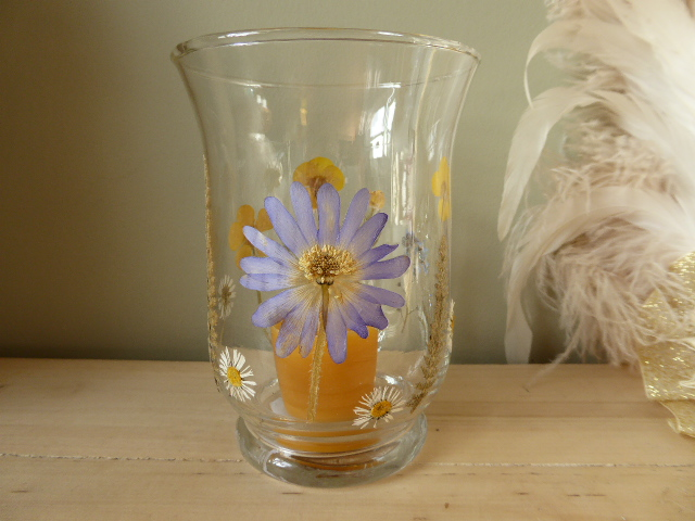 meadow flower fluted glass hurricane candle holder