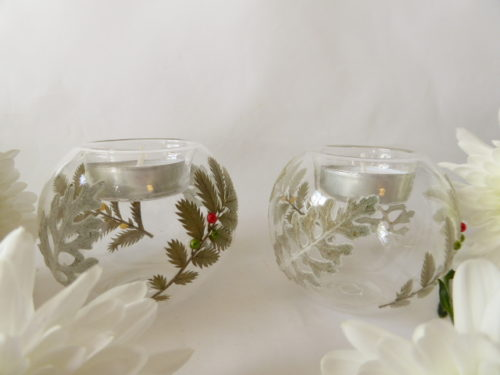 silver fern glass tea light holders