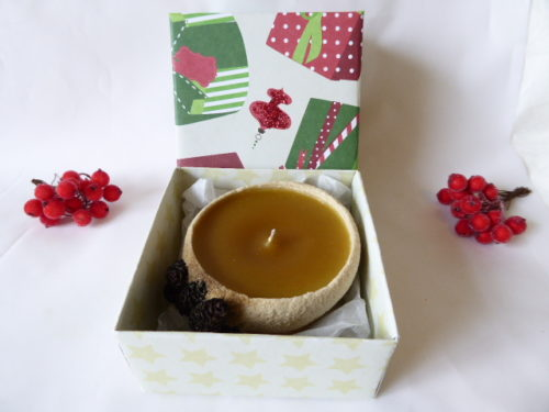 Gingerbread scented sand candle & gift box