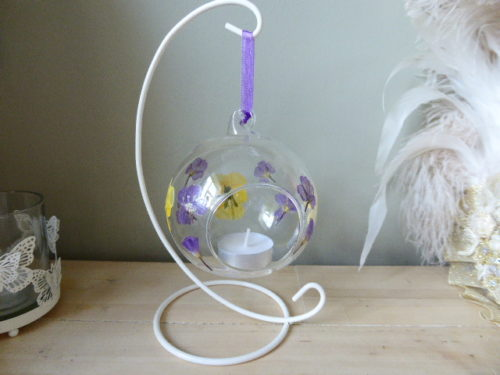 Viola & Purple Loosestrife Glass Bauble