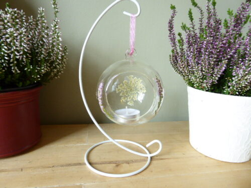 glass heather candle holder