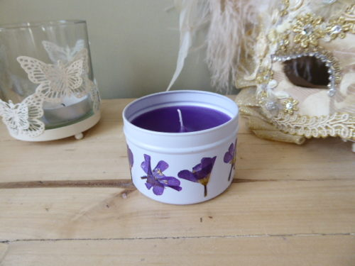 handmade english freesia scented tin candle