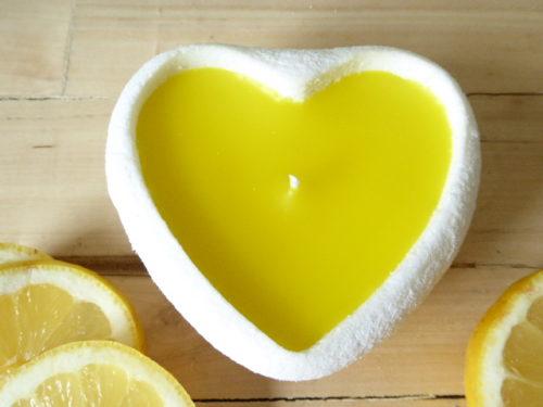 fresh lemon scented handmade sand candle