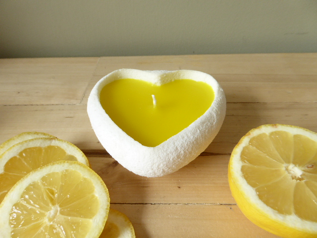 fresh lemon scented handmade sand candle