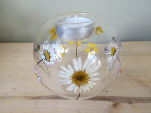 Meadow flower glass tea light holder
