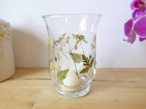 daisy & cow parsley hurricane candle holder