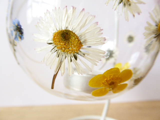meadow flower glass tea light holder and stand