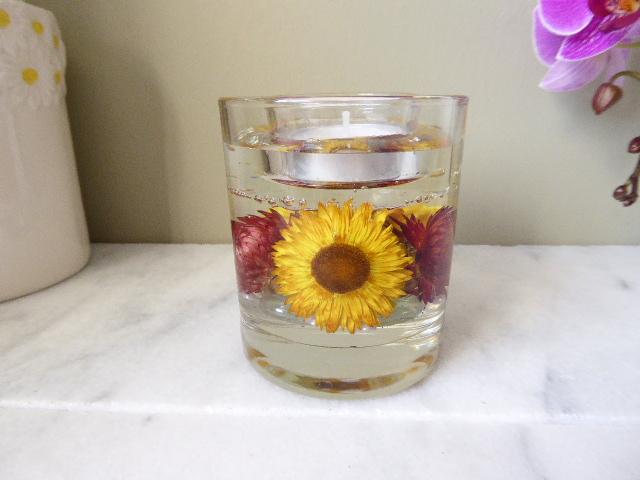 straw flower gel candle tea light holder
