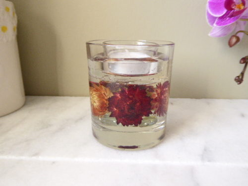 straw flower gel candle tea light holder
