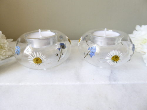 Forget-Me-Not and Daisy Twin Glass Tea Light Holders