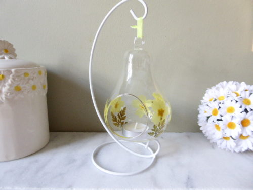 primrose and geranium leaf bauble tea light holder with stand