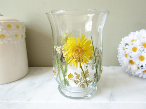 Real flower hurricane candle holder