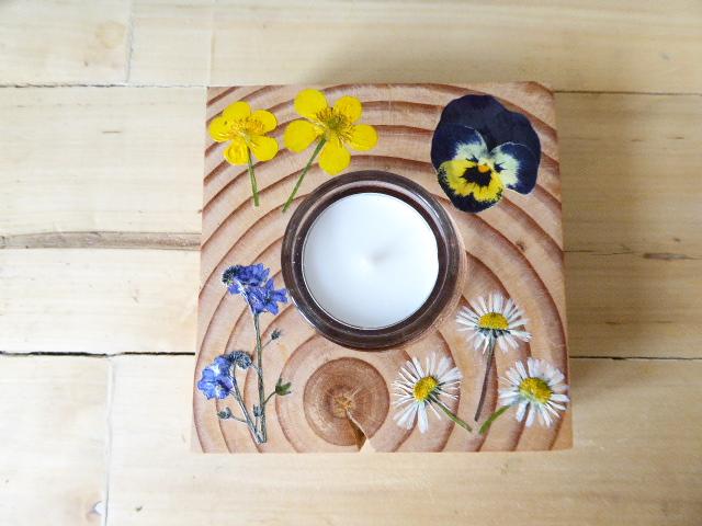 Reclaimed wooden flower tea light holder