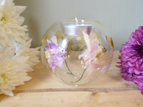 Aquilegia Primrose & Hawksbeard Glass Tea Light Holder