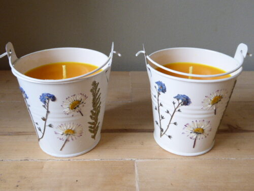 Bergamot Scented Flower Bucket Candles