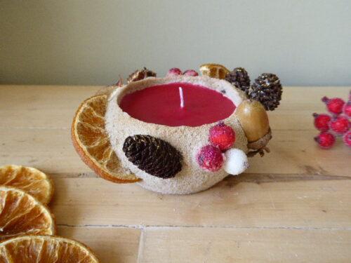 woodland Christmas sand candle