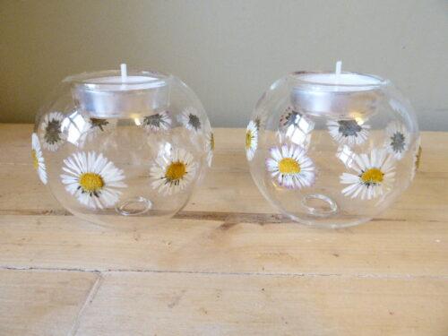 daisy glass bauble tea light holders