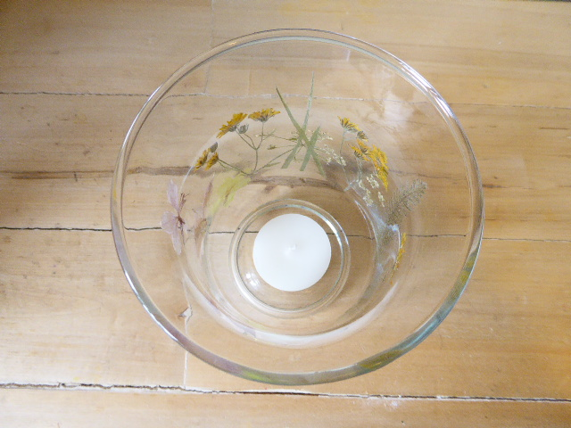 wild flower hurricane candle holder