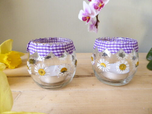 heart and daisy tea light candle holders