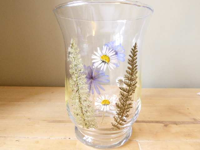 meadow flower glass hurricane candle holder