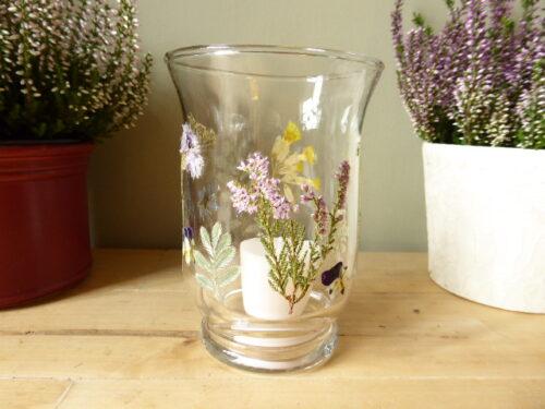 wild flower glass hurricane candle holder